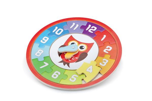 Puzzle-Uhr-Eule