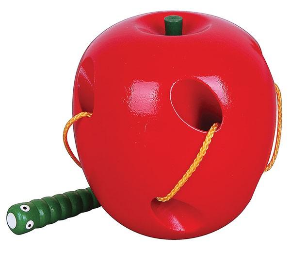 Fädelspiel Apfel mit Raupe