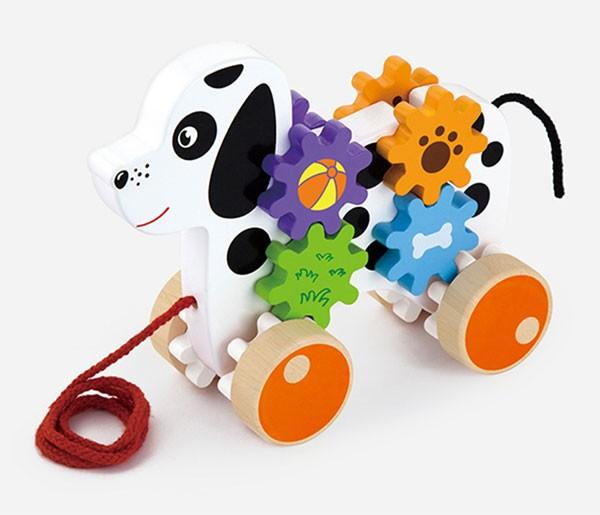 Ziehtier Hund mit Zahnradspiel
