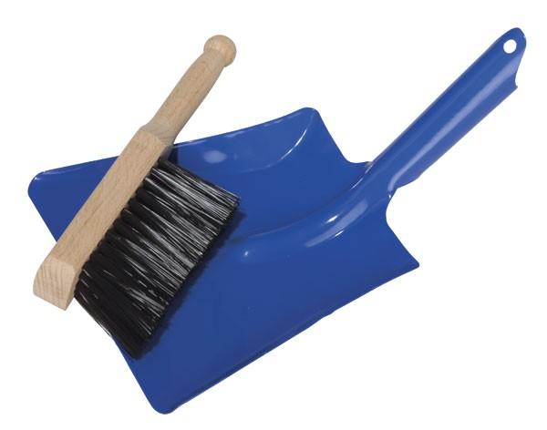 Kehrblech mit Handfeger blau