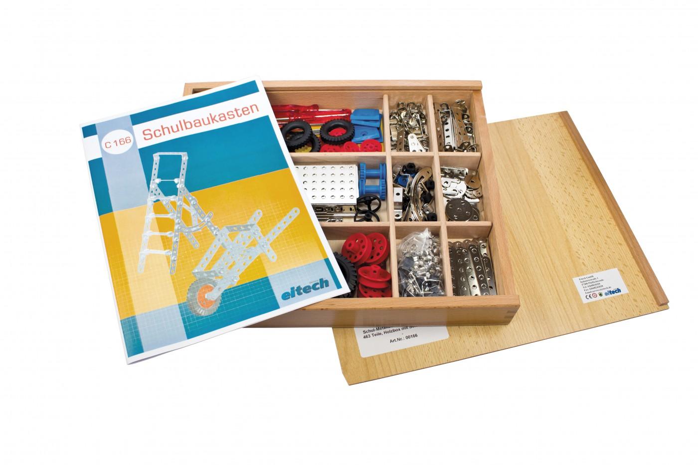 Schul-Metallbaukasten für 2 Schüler, Holzbox mit Schiebedeckel