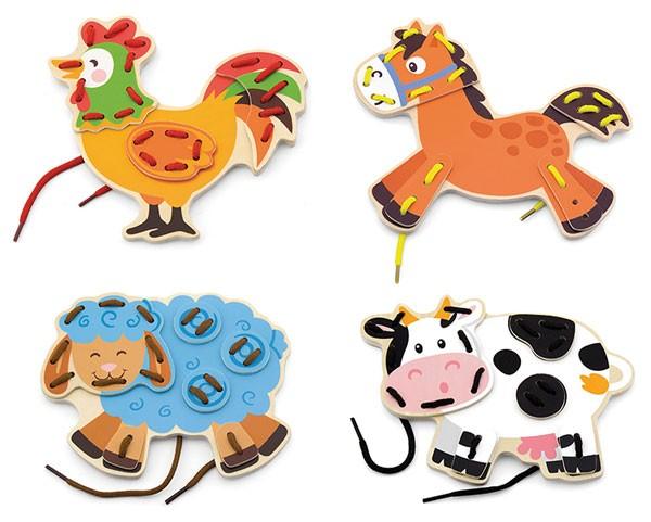 Fädelspiel-Set Bauernhoftiere