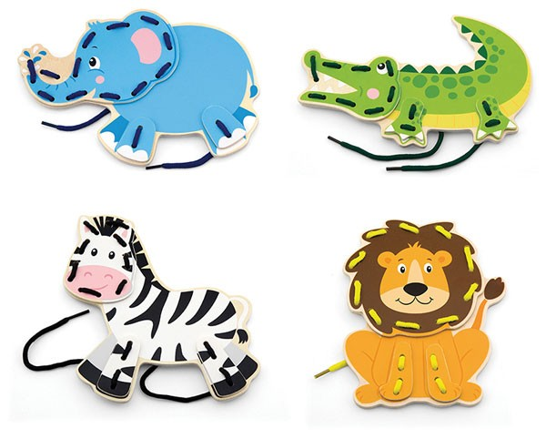 Fädelspiel-Set Wildtiere